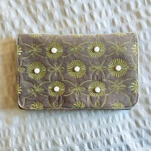 SHIRALEAH Velvet Clutch, Gray and Gold